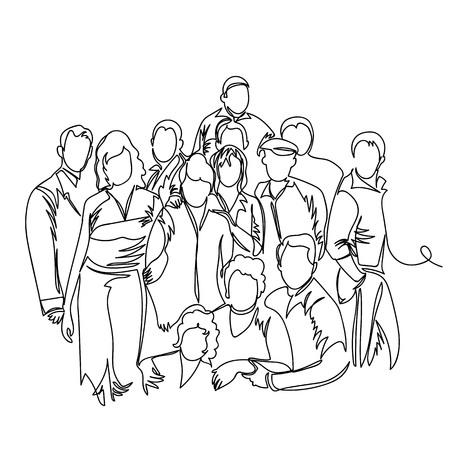 Gruppe von Leuten. eine Linie. durchgezogene Vektorlinie Vektorgrafik