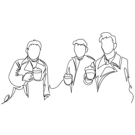 men drink beer. one line. vector continuous line Иллюстрация