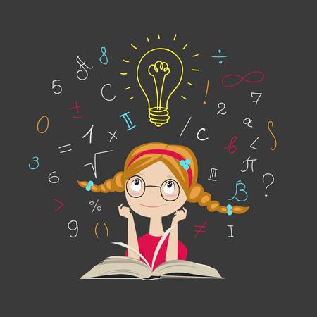 la chica del libro. concepto de idea. educación de los niños