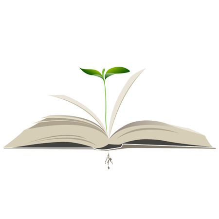 young plant in an open book. vector illustration
