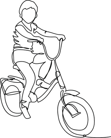 the child is on a bicycle. one line Stock Vector - 117419564