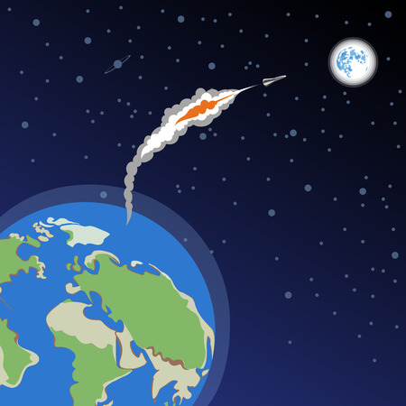 the rocket launches from earth to the moon. flying to the moon