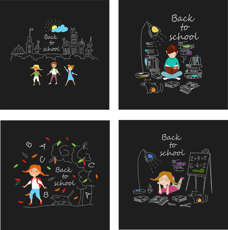 schoolchildren. vector set of chalk pictures depicting schoolchildren