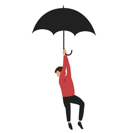 the man with the umbrella. man flying on an umbrella