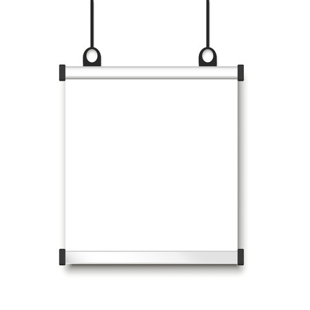 blank form. paper banner hanging on the wall Çizim