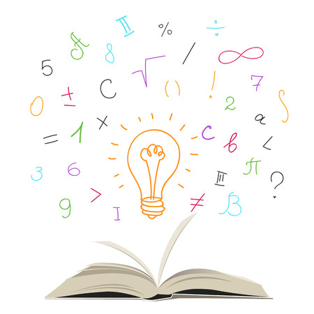 open book with mathematical symbols and numbers. light bulb ideas Çizim