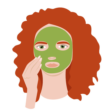 red-haired girl puts a cosmetic mask on her face Ilustração