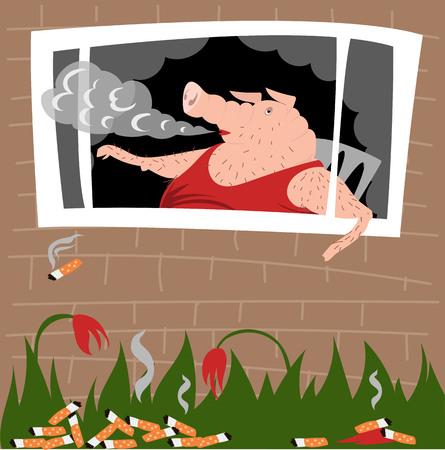 the pig smokes