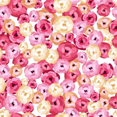 rose flowers. peony flowers. seamless pattern
