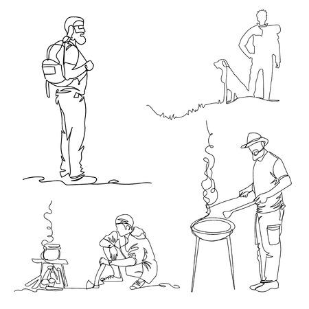tourists. one line. continuous line. vector illustration. set