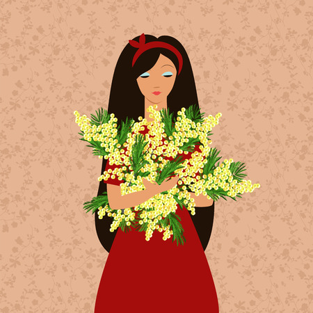 girl with a bouquet of flowers. girl holding a bouquet of Mimosa