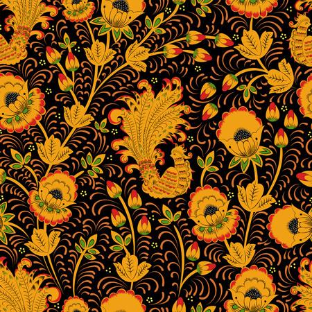 Russian folk ornament Khokhloma. Vector seamless pattern Ilustração