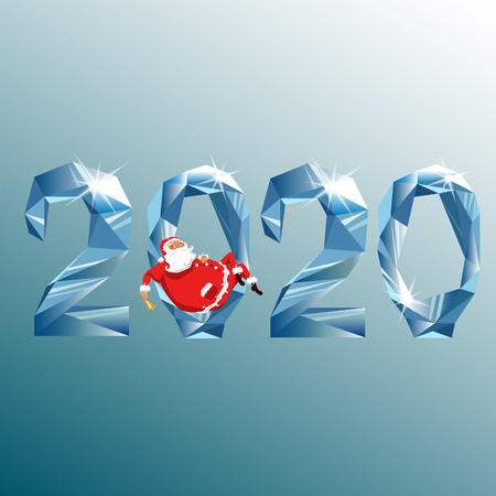 2020 and Santa. new year 2020. figures from the crystal. diamond numbers