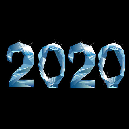 2020. new year 2020. figures from the crystal. diamond numbers