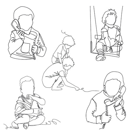 children. one line. continuous line. vector illustration. set of pictures 向量圖像