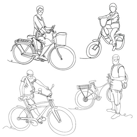 cyclists. one line. continuous line. vector illustration. set