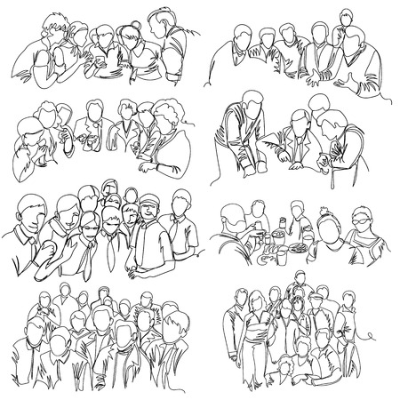 group of people. one line. continuous line. vector illustration. set Çizim
