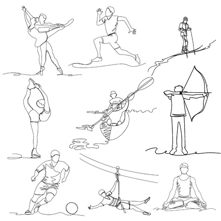 people are engaged in various sports. one line. continuous line. vector