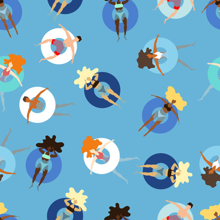 people on inflatable circles swim in the sea. seamless pattern Çizim