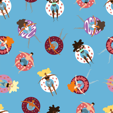 people on inflatable circles-cookies swim in the sea. seamless pattern
