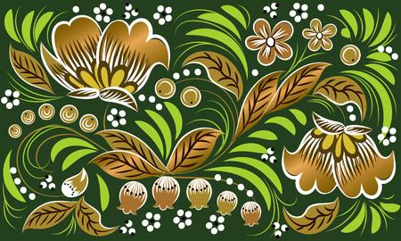 Russian folk pattern in gold on green background. Khokhloma Ilustração