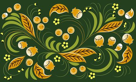 Russian folk pattern on green background. Khokhloma Ilustração