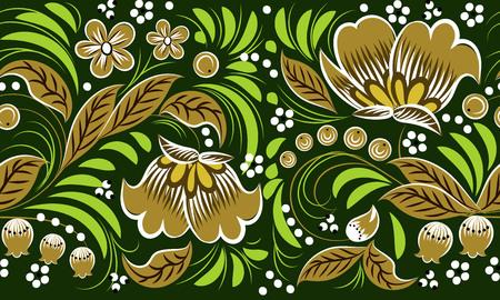 Russian folk pattern on green background. seamless pattern. Khokhloma Ilustração