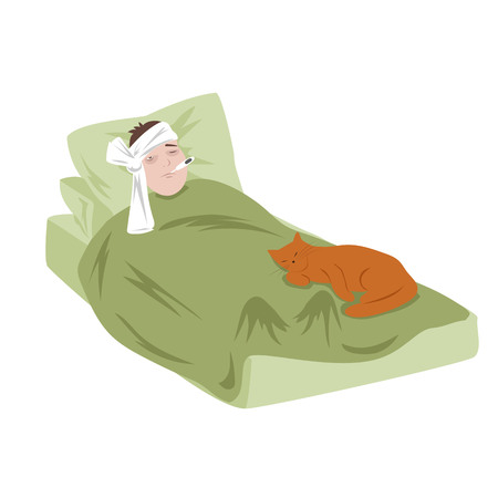 sick man lying in bed with a thermometer and a cat