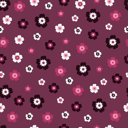 small flowers on dark red background. seamless pattern Ilustração