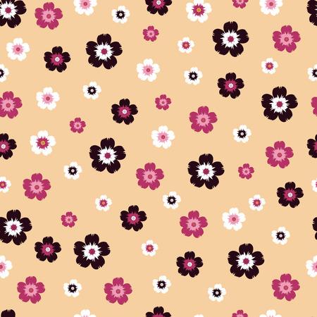 small flowers on yellow background. seamless pattern
