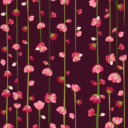 small pink flowers on dark red background. seamless pattern
