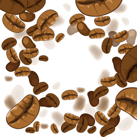 coffee bean. white background with coffee beans. vector illustration