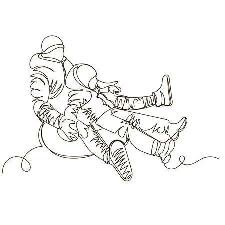 father and son ride on tubing. linear illustration