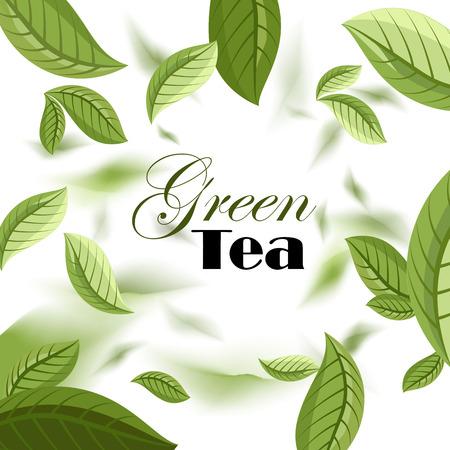 green tea. green tea leaves. label. vector illustration