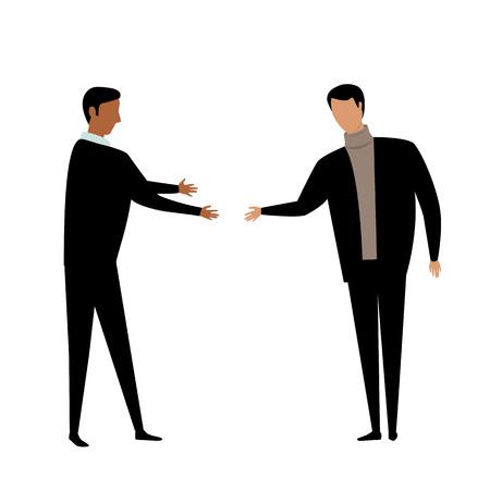 poignée de main. deux hommes se saluent avec une poignée de main