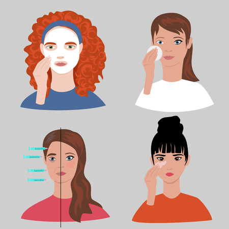 skin care. set of vector images with the faces of girls caring for the face
