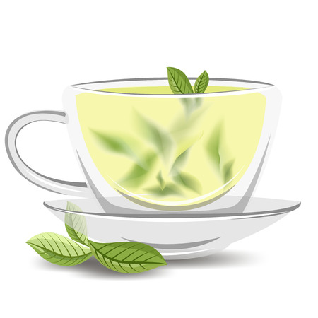 Cup of green tea. glass Cup with green tea leaves. hot drink