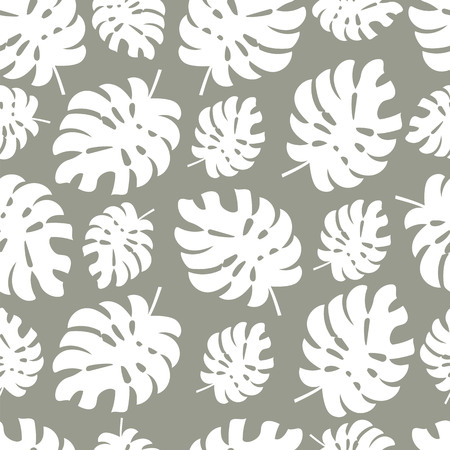 monstera leaves. silhouette of tropical leaves. seamless pattern Çizim