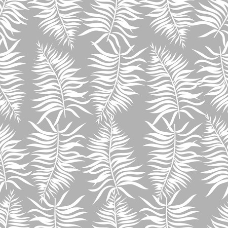palm leaves. silhouette of tropical leaves. seamless pattern Çizim