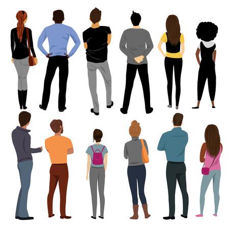 vue des personnes derrière. groupe de personnes. un ensemble de vecteurs Vecteurs