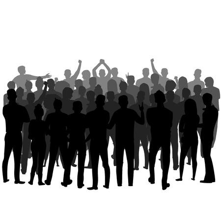 una multitud de personas de pie al revés. vector, silueta, de, un, grupo de personas