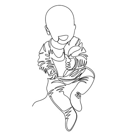 baby. the child smiles. one line. drawing a continuous line Archivio Fotografico - 124654569