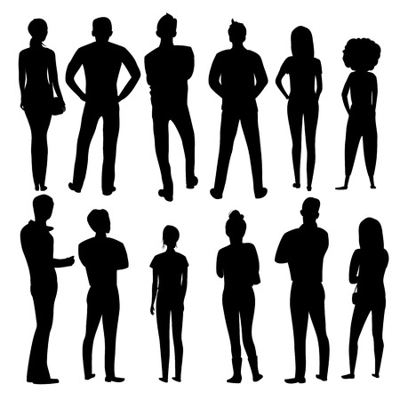 people stand back. vector silhouette of a group of people. set