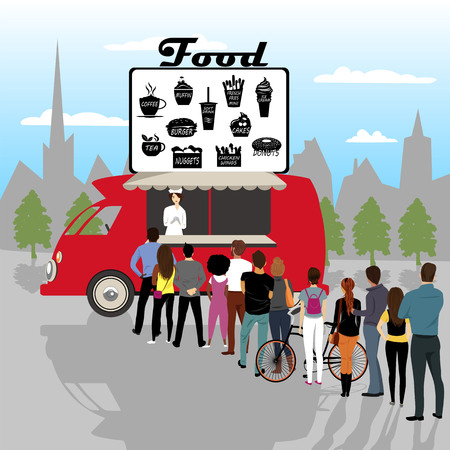 a group of people standing in line at a street cafe. vector illustration