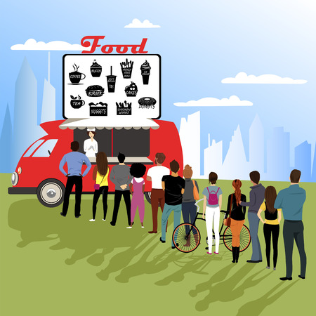 a group of people standing in line for fast food. mobile cafe
