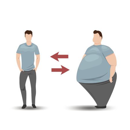 uomo grasso e magro. uomo prima e dopo la perdita di peso. illustrazione vettoriale
