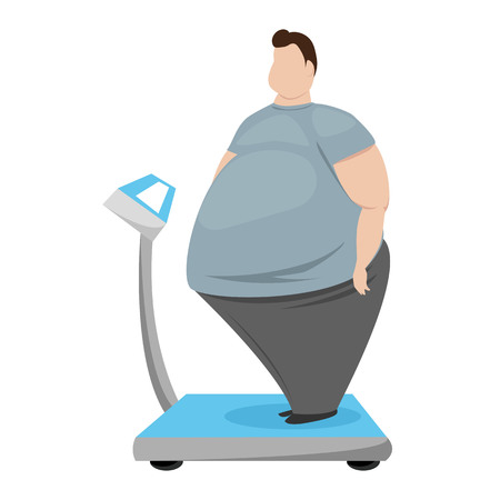 fat man. fat man measures spring balance. vector illustration