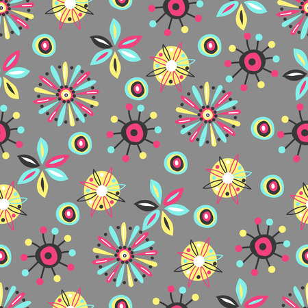 graphic flowers. vector seamless pattern of flowers