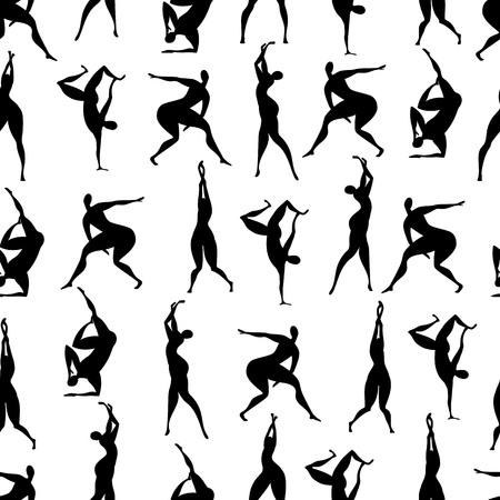 people dance. silhouette of dancing people. seamless pattern
