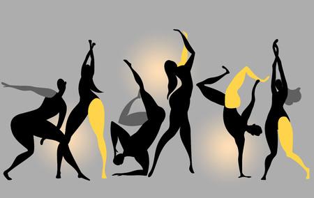 la gente baila. vector, silueta, de, bailando, gente, en, el, club